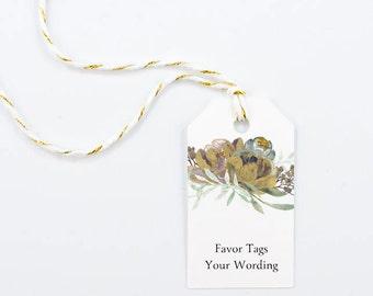 Wedding Favor Tag, Thank You, Bridal Shower, Elegant Favors, Winter, Gold, Boho Glam, Autumn - Precious Blooms, 1.25 x 2.25 inch, Set of 25