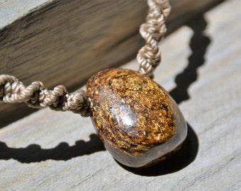 Bronzite Macrame Necklace / Bronzite Tumblestone Pendant / Adjustable  Stone Necklace / Macramedamare