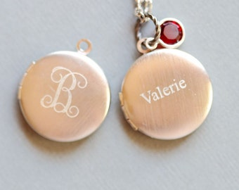 Personalized Locket Necklace,Engraved Monogram Small Locket Necklace -Birthstone,Flower Girl, Bridesmaids Gift, Mom Jewelry,
