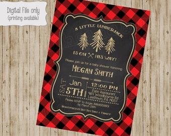 Lumberjack Baby Shower Invitation, Baby Boy Woodsy Invite, Printable Lumberjack Invitation, Rustic, Plaid Forest Baby Shower Invite