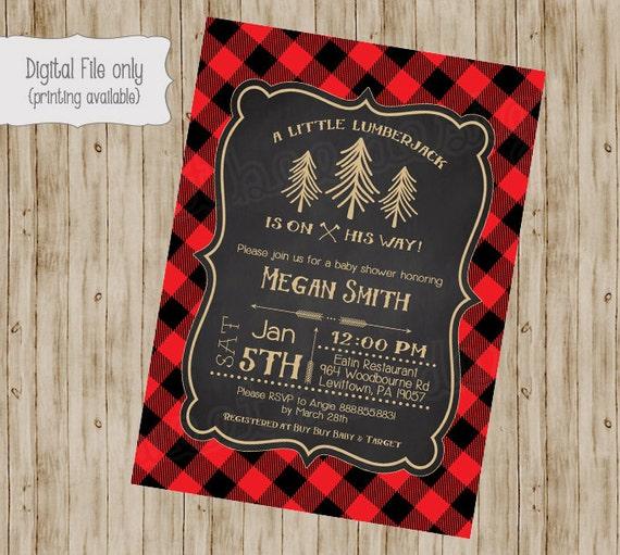 lumberjack baby shower invitation baby boy woodsy invite