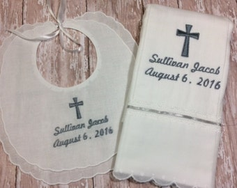 Personalsized Baptism Christening Bib and Burp Gift Set for Baby Boy or Girl