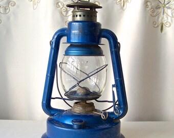 Vintage Oil Lantern Dietz Little Wizard Blue Lantern Camping Hurricane Lamp Rustic Decor ca 1910