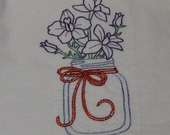 Floursack dishtowel machine embroidery mason jar flowers