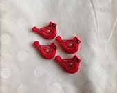 RESERVED For Carol. CARDINAL (4) Machine Embroidered Embellishments / Appliques - Ready to ship