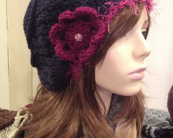 Slouchy Beret Navy with Plum Fur, Flower and Vintage