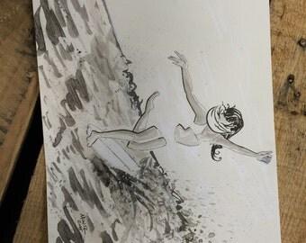 Dancing Wave Rider Surfer Longboard Original Art Inktober