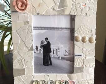 Mr. & Mrs. frame, Mosaic Wedding frame, white wedding frame