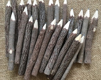 "5"" Twig pencils- dozen, rustic wood pencil"