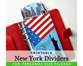 PRINTABLE Personal Size Cute Kawaii New York City DIY Dividers 5 Top Tabs for Filofax Organizer Planner Instant Download