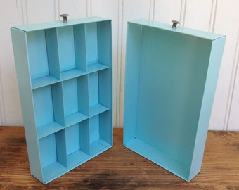 Small Vintage Metal Storage Drawers - Tiffany Blue