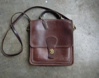 Vtg COACH Brown Leather Twist Lock Shoulder Purse Crossbody