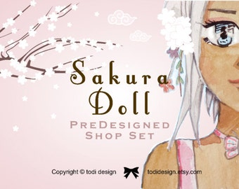 SALE for this week Sakura Doll  -   Character Illustrated Premade Etsy Shop Banner set