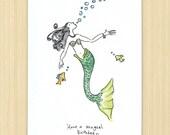 Mermaid Birthday card, Have a Magical Birthday greeting card