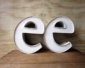 10 Inch Industrial Letter E Lower Case e White Metal E