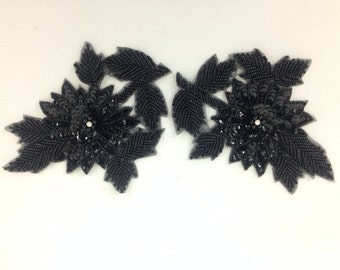 Small black sequin flower applique