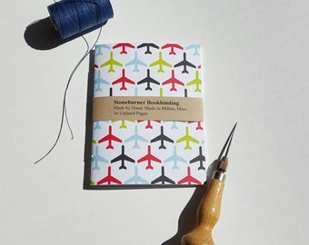 Airplanes Travel Notebook - Adventure Sketchbook - Jotter - Handmade Notebook - Pocket Travel Journal