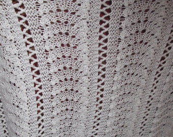 Vintage Hand Knitted Baby Blanket. Lovely White Soft Knit Throw. 33 x 38 inches