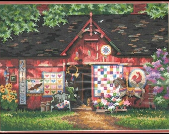 """Dimensions """"Antique Barn"""" needlepoint kit"""
