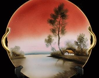 Vintage Noritake Nippon Tree in Meadow Cake Plate Sunset Handled