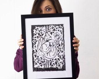 LINOCUT PRINT- anatomical HEARTH- artistic print- linogravure