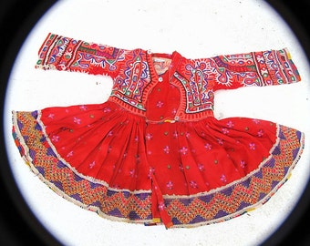 Red Toddler's Dress: Vintage Rabari Hand Embroidery and Mirror Work Textile from the Sindh