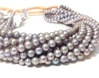 AA Grade 6 to 7 mm Freshwater Pearl Beads - Off Round Grey Pearl - Bridal and Bridesmaid Pearl 16 Inch Strand (ET8958Q5-BH)