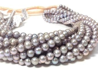 AA Grade 6 to 7 mm Freshwater Pearl Beads - Off Round Grey Pearl - Bridal and Bridesmaid Pearl 16 Inch Strand (ET8958Q5)