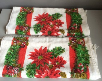 Vintage Mid Century Cannon cotton Christmas Holiday Hand Towels.  Bells Pinecones ribbons boughs and Poinsettias NOS