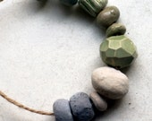 Truthed into peace -- 10 small pastel ceramic beads