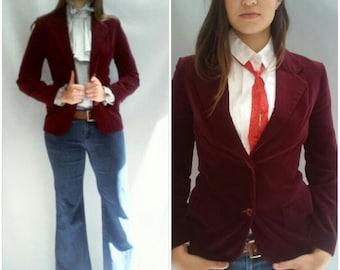 70s VELVET jacket blazer MOD skinny fit, small