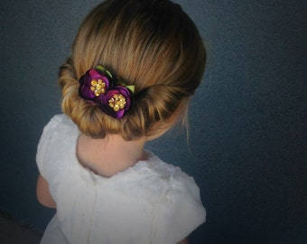 Handmade Purple and Gold Sequin Hair Pins
