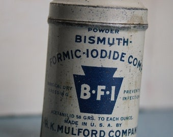Vintage Bismuth powder sample size tin