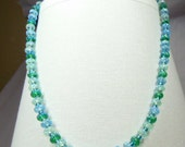 Sparkling, glittering, turquoise and aqua evening necklace