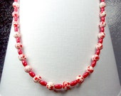 Red and White color splashes necklace #2