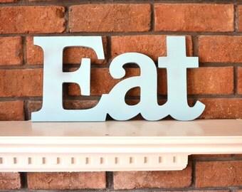 Aqua Turquoise Letters EAT sign wall art decor wood vintage style