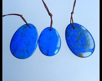 SALE!3 PCS  Lapis Lazuli Gemstone Pendant Bead,20x25x4mm,25x18x4mm,9.40g