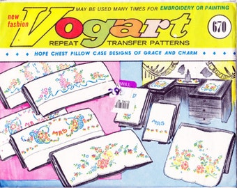 Retro Vogart Repeat Transfer Patterns # 670 for PILLOW CASE TRANSFERS Hope Chest Towels - Vintage Designs