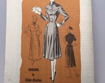 50s Drop-Waist Tailored Dress - UNUSED Elliot-Charles - Prominent Designer Pattern Bust  38