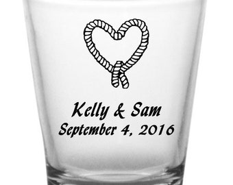 Personalized Custom Wedding Favor Shot Glasses Heart Designs