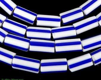 Striped Trade Beads Blue and White Africa 100520