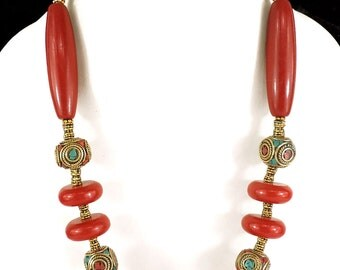 Tibetan Necklace Red and Brass Beads 21 Inch 102793 SALE WAS 49