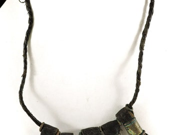Wodaabe Necklace Leather Brass Pendant Africa 104935