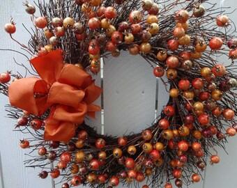 Berry Wreath  Autumn Wreath   Orange Berry Wreath  Festive Wreath  Hand Crafted Wreath  Twig Wreath  Front Door Wreath