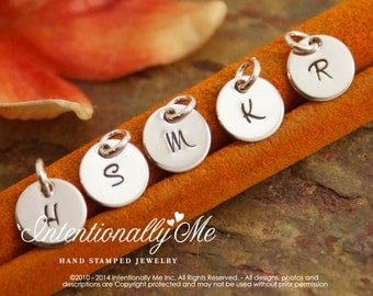 Hand Stamped Mommy Jewelry - Personalized Charm - One Teeny Flat Initial Tag