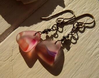 Colourful, chunky glass drop earrings, tan and pink, Sea Glass finish