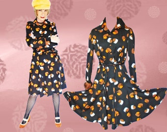60s Psychedelic Fall Dress - Vintage Shirt Dress with Gored Skirt