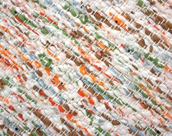 Handwoven , unused Cotton Fabric ribbons  rag rug - 3.02' x 7' and 3,4'' , white, orange, green,, ready for sale