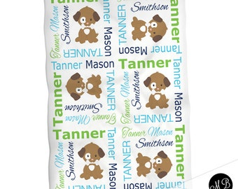 Puppy blanket for baby boy, personalized blanket, puppy blanket, boy baby blanket, baby shower gift, swaddling, receiving blanket  PuppyB1