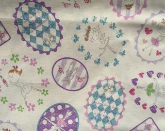 Japanese fabric Ballerina girls printed One yard white color